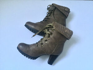 Brown Block Heeled Boots with Traction