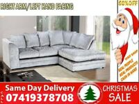 NEW STYLE OFFER 65% OFF CRUSH VELVET 3+2 SEATER FABRIC CORNER SUITE SOFA IN DIFFERENT COLOR