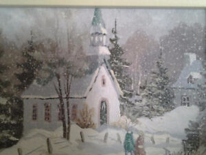 REAL PAINTING ST ADELE CHURCH WINTER  PIERRE BOUCHER SIGNED