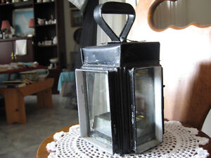 UNIQUE OLD ANTIQUE 3-SIDED GLASS HANGING LANTERN