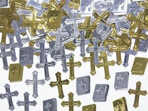 240 Streuteile Streudeko Kommunion Tischdeko - Kreuz, Buch - gold, silber
