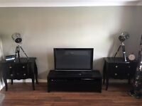 2 x piano black chests and TV unit