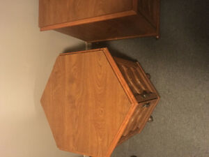Two antique style end tables