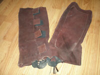 brown leather suede half chaps