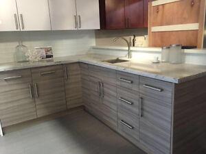 New kitchen cabinets on sale Grey Wood Flat Panel 10x10 kitchen