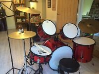 1 full size starter 'Gear for Music' Drum kit + Planet Z ride cymbal red