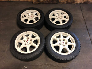 JDM HONDA CIVIC EK9 TYPE-R WHITE MAGS WITH WINTER TIRES FOR SALE