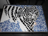 Siberian Tiger Mosaic Coffee tables with iron bases