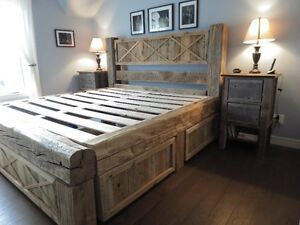 lit en bois de grange et mobilier lits matelas l vis kijiji. Black Bedroom Furniture Sets. Home Design Ideas