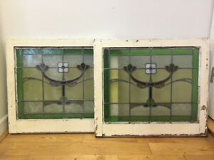 Antique Stained Glass Windows x 2