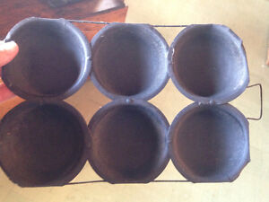 ANTIQUE PRIMITIVE TIN 6 CUP MUFFIN/CORNBREAD/BRISCUIT POPOVER P