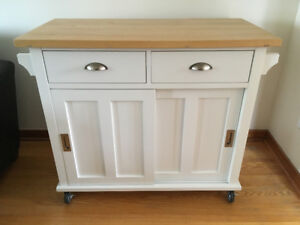 White Kitchen Island Cart