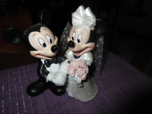 Mickey Minnie Mouse Bridal Wedding Cake Topper Figurine