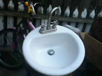 sink with stainless steel faucet