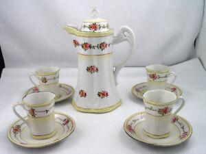Vintage 10 Pcs Hand Painted Porcelain Hot Chocolate  / Tea Set