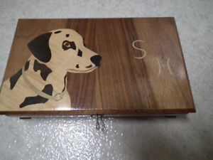 Jewellery Box,Wooden hand made with Initials SH, Dalmation fan