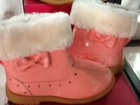 Brown or pink boots with fur kids brand new