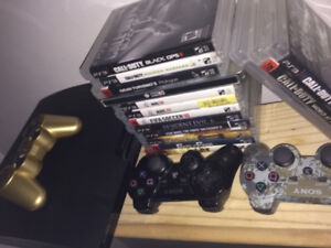 CHEAP SLIM PS3, 3 CONTROLLERS, 14 GAMES!!!!