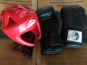Leather Boxing Gloves and Medium Size Headgear