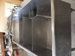 Stainless Steel Commerical 3 Sink and a Commercial Dish Washer