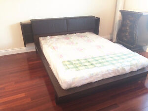 real wood bed frame with movable drawers on two sides