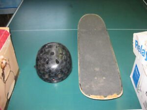 Skateboard and helmet