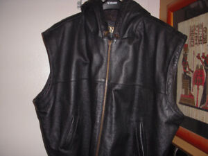 Danier Leather Vest Jacket with hood.