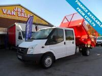 2010 10 FORD TRANSIT 2.4 350 DRW 5D 115 BHP CREWCAB CAGED TIPPER LOW MLS AT ONLY