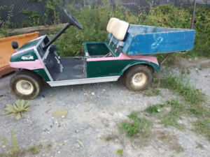 Club Car pickup style golf cart with 48v charger