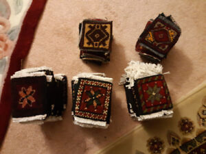"""4x4"""" (excluding fringe) knitted carpet pieces. 82 total"""