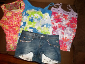 Girls Justice Denim Shorts and 3 tops - EEUC
