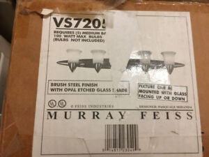 NIB Murray Feiss Vanity Light Brushed Steel Opal Glass Shades