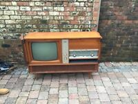 Old Retro Wooden Entertainment Unit With Philips TV/Radio/Record Player