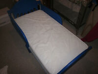 Blue Toddler Bed and NEW Sealy Baby Mattress