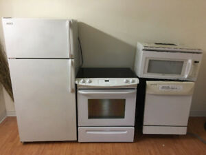 4 piece kitchen white appliances fridge stove dishwasher microwa