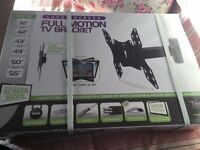 Large screen TV full motion wall bracket new in box RRP £83.99 plus accessories