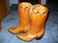 Men's light brown leather cowboy boots - size 8 1/2