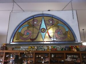 Half Circle Stained Glass Window in Rectangular Wood Frame