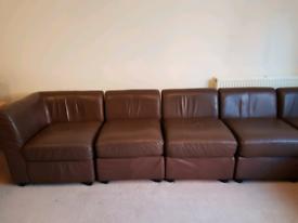 Leather corner sofa suite