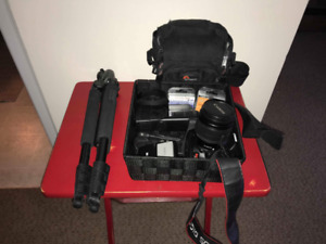 Canon Rebel XS, Trax tripod, Mecablitz flash and more