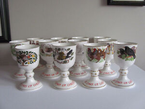 Set of 12 ROYAL DOULTON TWELVE DAYS of CHRISTMAS CHINA GOBLETS