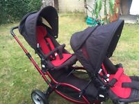 ABC design zoom double pushchair with Maxi cosi adaptors and cabriofix car seat