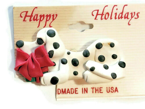 "Dalmatian Dalmation Puppy Dog Brooch Pin Clay Figure Animal 2"" Happy Holidays"