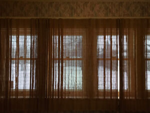 Vintage BAMBOO DRAPES CURTAINS 4 Panels & Metal Rods