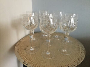 8 Crystal wine goblets, Cross and Olive pattern