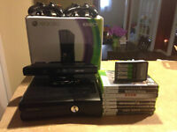 Xbox 360 Slim 120GB + Kinect 2 Controllers 8 Games