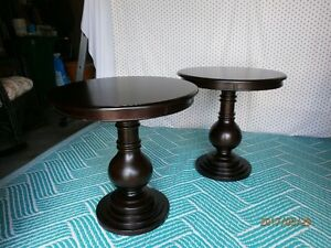 Matching Round Wood Side Tables