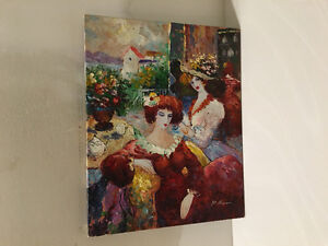 Oil on Canvas Painting - Ladies Lunching