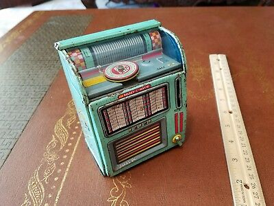 Vintage haji N.Y tin wind up juke Box made in Japan tin toy lot toy japan old