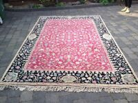 Pure wool rug chinese large size pink black floral